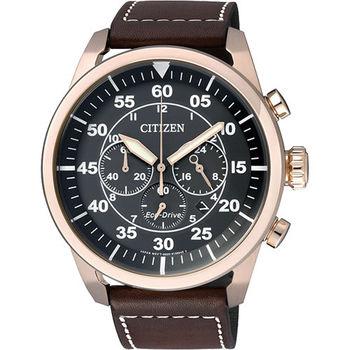 CITIZEN 光動能計時碼錶(CA4213-00E)-黑x玫瑰金框/45mm