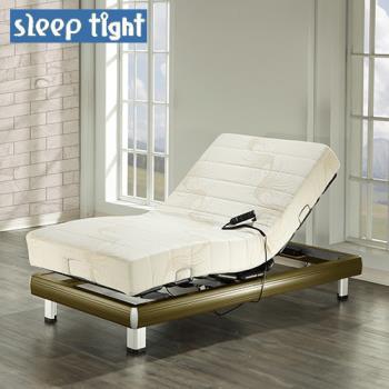【Sleep tight】德國馬達線控電動床組(涼感親膚記憶膠+針織布套)-鐵杉木紋色(奢華型)-3.5尺單人