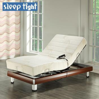【Sleep tight】德國馬達線控電動床組(涼感親膚記憶膠+針織布套)-櫻桃木紋色(奢華型)-3.5尺單人