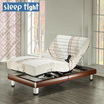 【Sleep tight】德國馬達線控電動床組(透氣環保膠+針織布套)-櫻桃木紋色(奢華型)-3.5尺單人