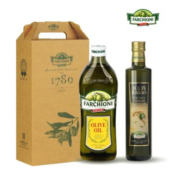 義大利 法奇歐尼 健康禮盒-經典橄欖油1000ml+莊園特級冷壓初榨橄欖油500ml 各一入