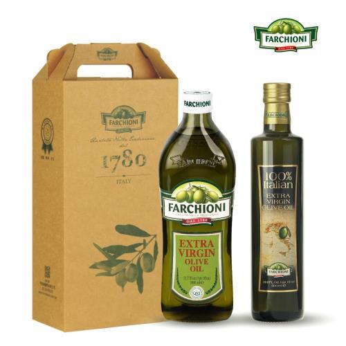 【法奇歐尼禮盒】頂級經典冷壓初榨橄欖油1000ml+義大利莊園冷壓初榨橄欖油500ml