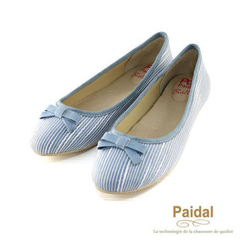 Paidal 優雅立體蕾絲紋娃娃鞋/包鞋-藍