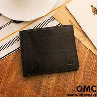 OMC - 韓系原皮工藝薄型真皮左右翻11卡1照短夾-黑