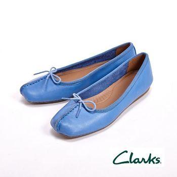 【Clarks】FRECKLE ICE 真皮休閒蝴蝶結平底鞋女鞋-藍(另有橘黑棕)