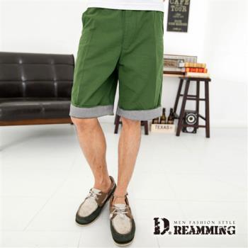 【Dreamming】千鳥格紋反摺褲腳休閒短褲(共二色)