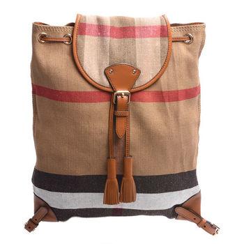 BURBERRY 經典CANVAS格紋帆布牛皮流蘇飾邊後背包(焦糖色)