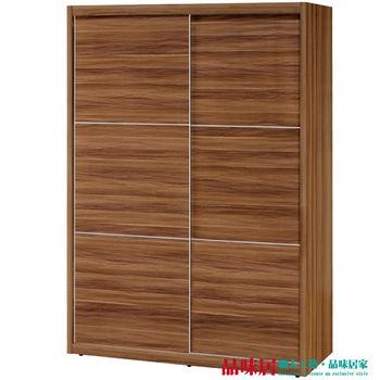 【品味居】萊姆 胡桃木紋5尺推門式衣櫃(三吊桿+雙抽屜+內鏡)