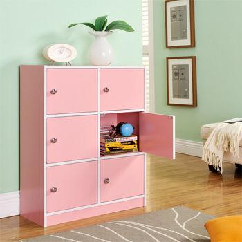 【咱的厝】DIY輕鬆收納六門櫃/書櫃/置物櫃/收納櫃(粉色)