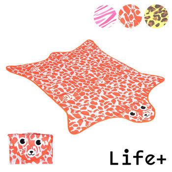 【Life Plus】動物叢林  造型野餐墊/遊戲墊 (橘色_鹿紋)