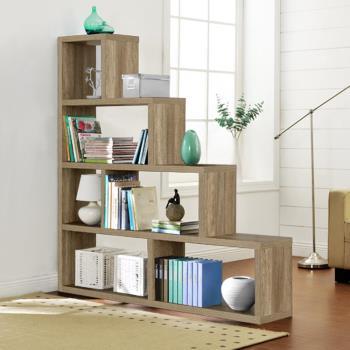 【咱的厝】L型多層展示櫃/書櫃/收納櫃/隔間櫃(深橡色)