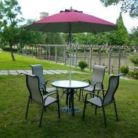 BROTHER兄弟牌紗網椅七件桌椅組(105cm鋁製庭院桌+鋁製高背紗網椅*4+9尺玻纖太陽傘(酒紅)(米白)(綠色)+12kg傘座)