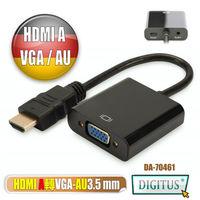曜兆DIGITUS HDMI A輸入轉VGA(母)螢幕影音線(附聲音輸出)