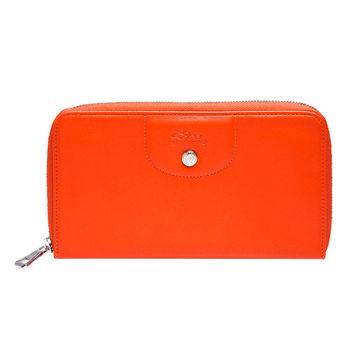 LONGCHAMP 經典Le Pliage Cuir系列飛馬LOGO小羊皮拉鍊手拿長夾(亮橘色)