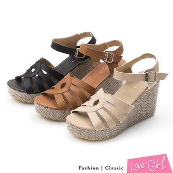 ☆Love Girl☆視覺新作曲線交叉羅馬楔型涼鞋