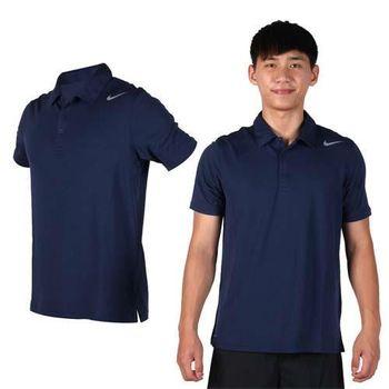 【NIKE】男翻領短袖針織衫-立領 網球 POLO衫 短T 丈青灰