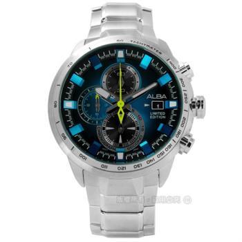 ALBA / VK67-X010B.AV6063X1 / 劉以豪限量款翻轉有型日期三環計時不鏽鋼手錶 藍黑色 47mm