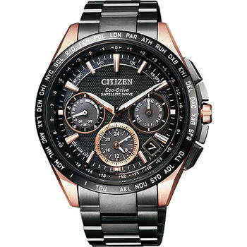 CITIZEN GPS 光動能衛星對時超級鈦金屬腕錶-黑/43mm CC9016-51E