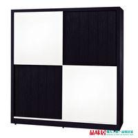 【品味居】亞里妮黑白色6尺推門衣櫃