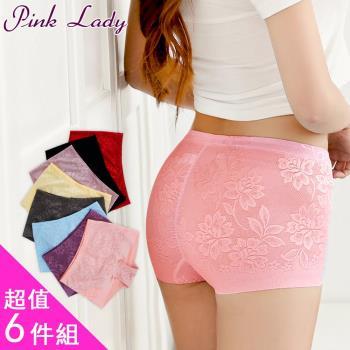【PINK LADY】100%蠶絲褲底花漾無痕平口褲5319(6件組)
