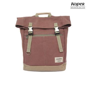【KOPER】不平帆系列-復古雙釦後背包-摩卡棕
