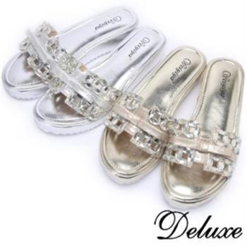 【Deluxe】一字水晶蝴蝶緞帶涼拖鞋(金★銀)