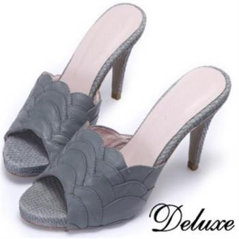 【Deluxe】全真皮美人魚鱗造型魚口涼跟鞋(灰)