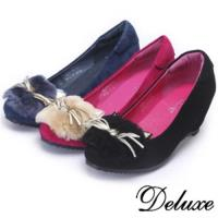 【Deluxe】全真皮日系隱形內增高絨毛貓咪楔型厚底包鞋(黑★桃★藍)-016-18