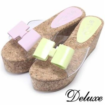 【Deluxe】俏皮幾何蝴蝶厚底涼拖鞋(綠★紫)-678-26