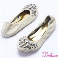 【☆Deluxe☆】全真皮柔軟彎曲閃亮鉚釘娃娃鞋(米)-208-3