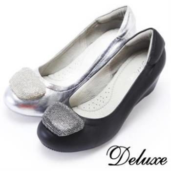 【Deluxe】初秋韓版真皮內增高鞋(黑★銀)-520-8