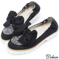 【Deluxe】浪漫進口絲布滿版水鑽厚底懶人鞋(黑)-9026-5