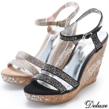 【Deluxe】夏日水鑽滿版輕頌優雅厚底楔形鞋(黑★米)-9005-4