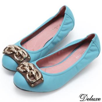 【Deluxe】全真皮雙扣金鍊包頭娃娃鞋(藍)