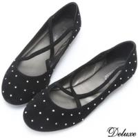【Deluxe】全真麂皮水鑽交叉綁帶平底休閒鞋(黑)-306-26