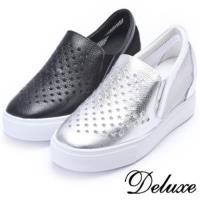 【Deluxe】性感百搭‧真皮透膚星簍空厚底休閒鞋(銀色★黑色)-5816-1