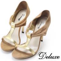【Deluxe】麂皮T字涼跟鞋(米駝色)-2190B808