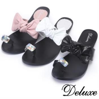 【Deluxe】水晶腳戒蝴蝶紐結夾腳拖(白☆黑☆粉)-5295