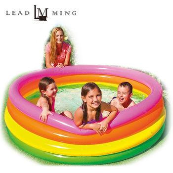 【INTEX】168公分圓形彩紅充氣泳池