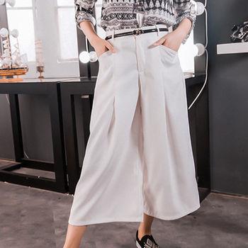 ROUAN 名媛感純色雪紡寬版九份褲/寬褲裙
