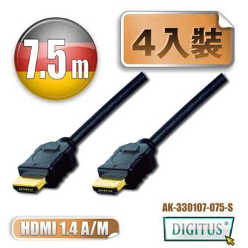 曜兆DIGITUS HDMI 1.4a圓線7.5公尺typeA-4入裝