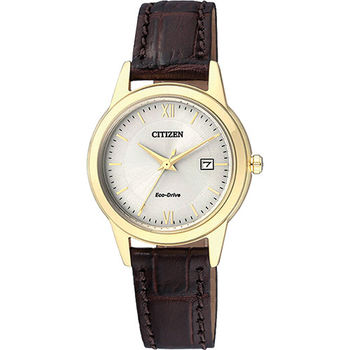 CITIZEN Eco-Drive光動能城市女錶-金/29mm FE1082-13A