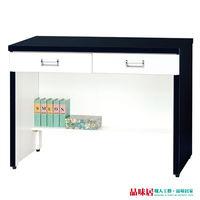 【品味居】金妮亞3尺黑白色二抽書桌