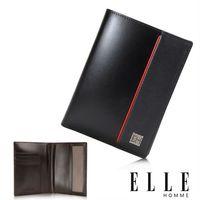 【ELLE HOMME】法式 護照中夾 嚴選義大利頭層牛皮(黑 EL81967-02)
