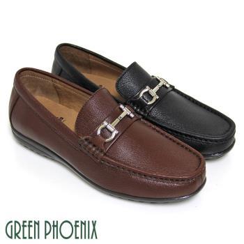 【GREEN PHOENIX】穩重經典一字金屬手縫全真皮平底休閒鞋(男鞋)-棕色、黑色