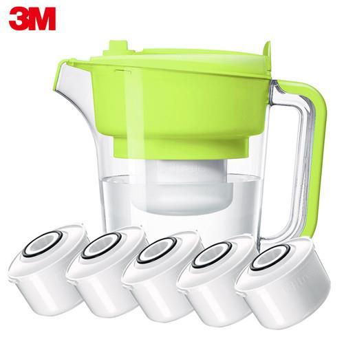 【3M】即淨長效濾水壺—1壺+5濾心  蘋果綠 WP3000