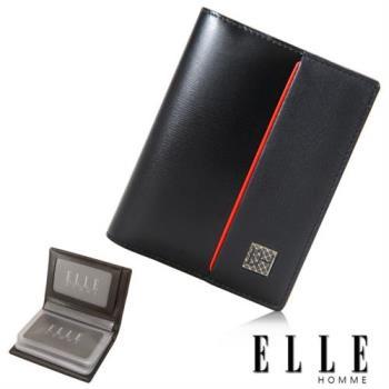 【ELLE HOMME】法式精品嚴選義大利頭層皮厚層透明名片夾(黑 EL81959-02)