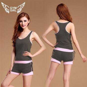 GYM GIRL「SEXY」背心短褲運動套裝 (深灰色)