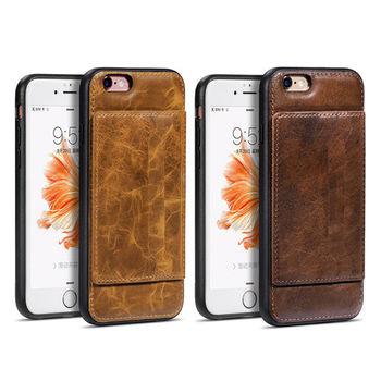 【hoco】Apple iPhone 6/6S Plus 鉑金支架插卡款真皮背套
