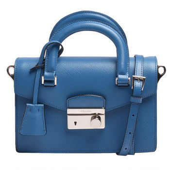 PRADA Saffiano防刮小牛皮圓形壓釦手提/斜背包(藍-展示品)